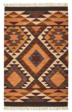 Alwar Tapis Kilim indien commerce équitable motif géométrique, en ...