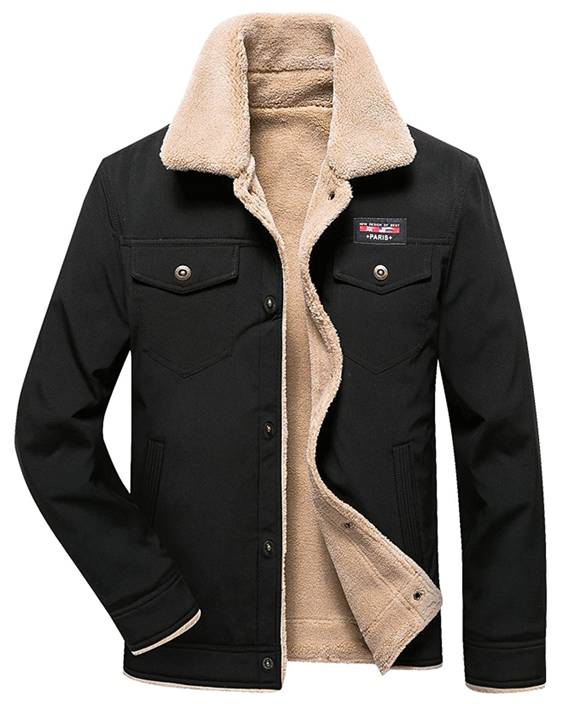 HOWON Mens Casual Sherpa Fleece Lined Jacket Warm Coat with Fur Collar
