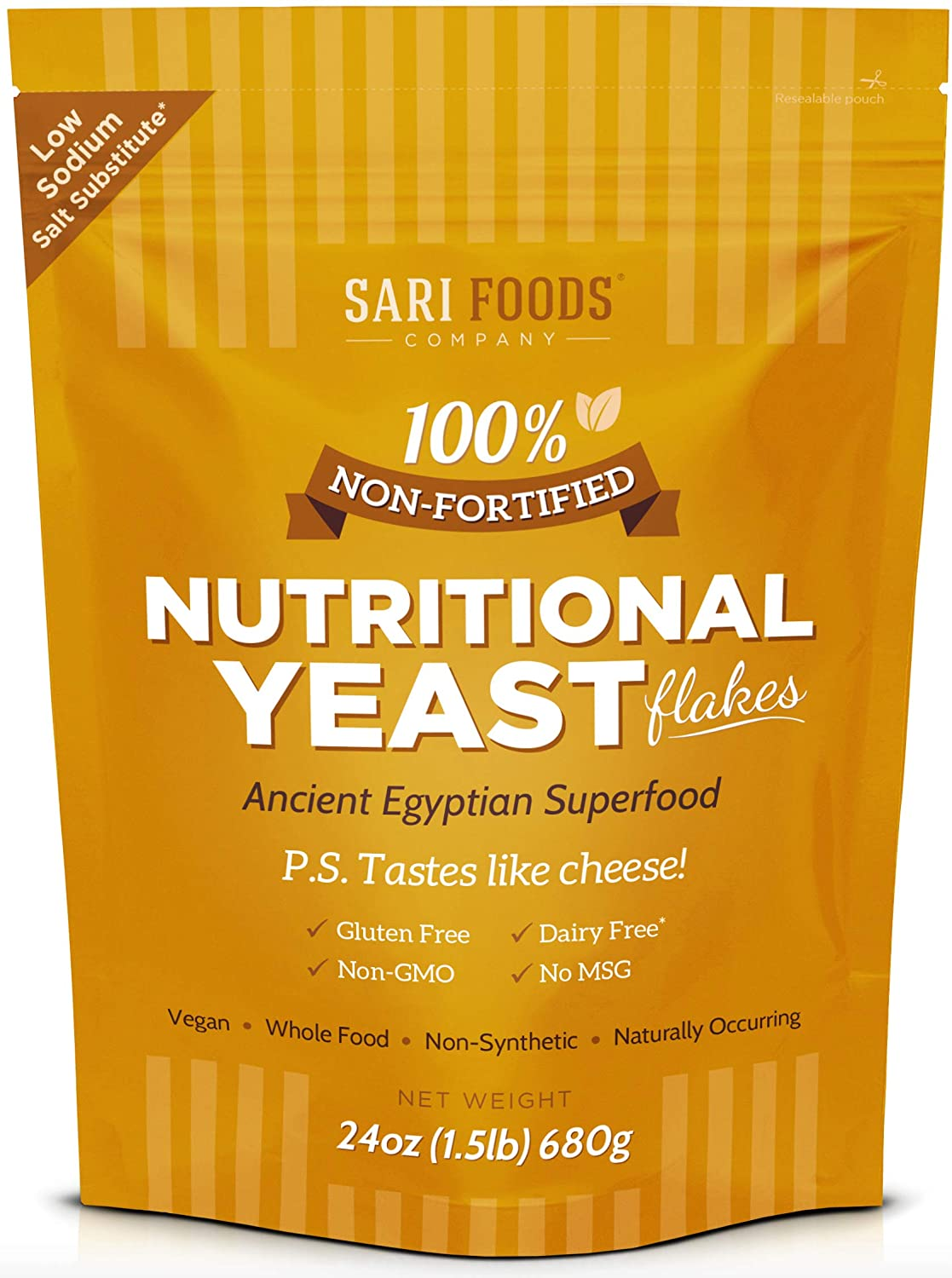 Natural Non-Fortified Nutritional Yeast Flakes 24 oz. Whole Food Based Protein Powder, Vitamin B Complex, Beta-glucans and 18 Amino Acids