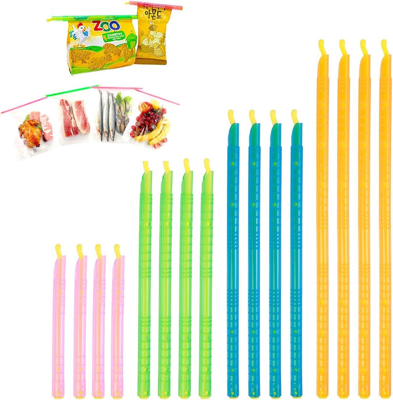 Magic Bag Plastic Sealing Clips, Food Clip Sealer Stick,Colorful Stay Fresh Gripstic Sealer Sticks,4 Sizes Kitchen Food Storage Clips(16-PCS