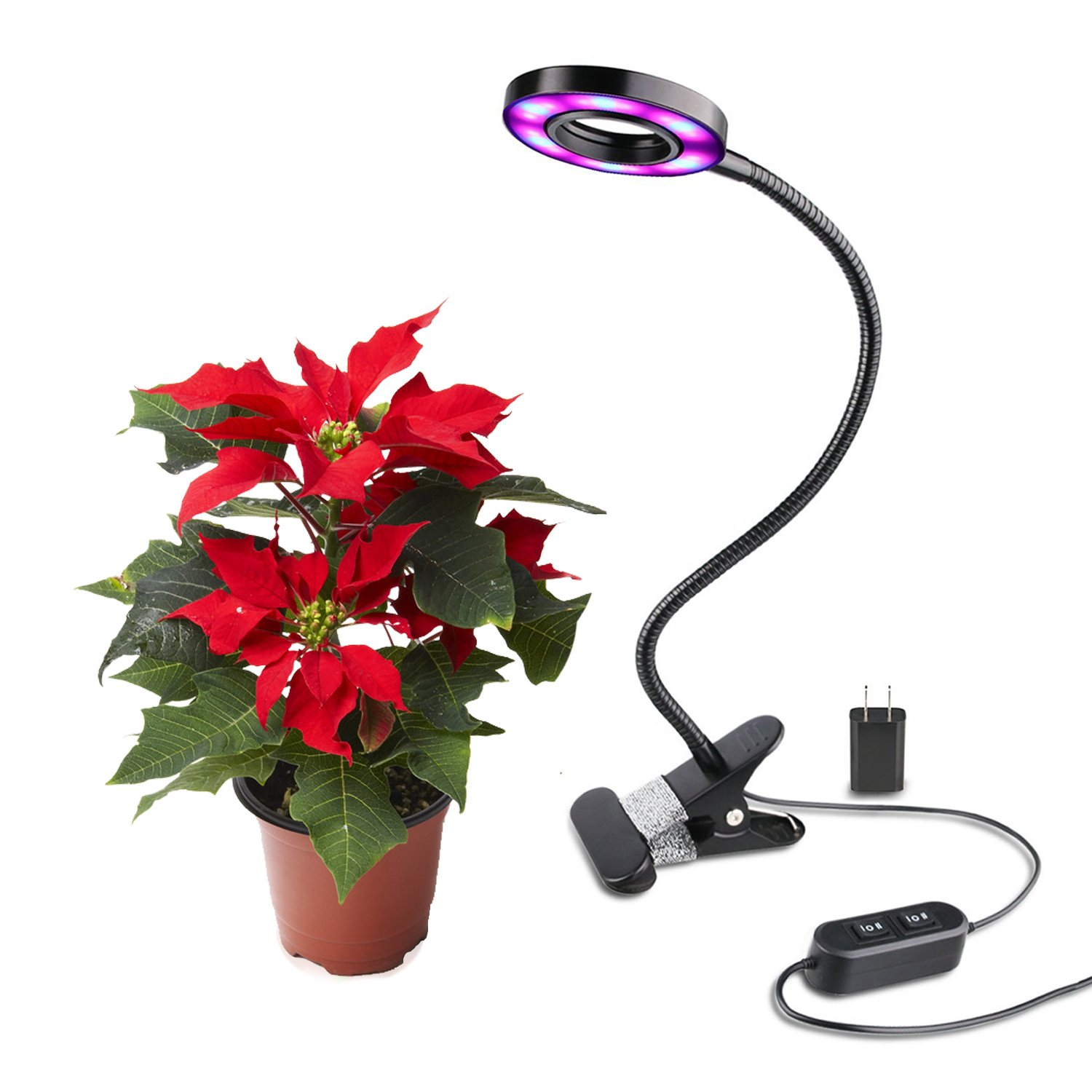 Amazon.com : Led Grow Light 10 W Desk Lamp Clip for Indoor Plant & Hydroponics - BOOCOSA : Patio, Lawn & Garden