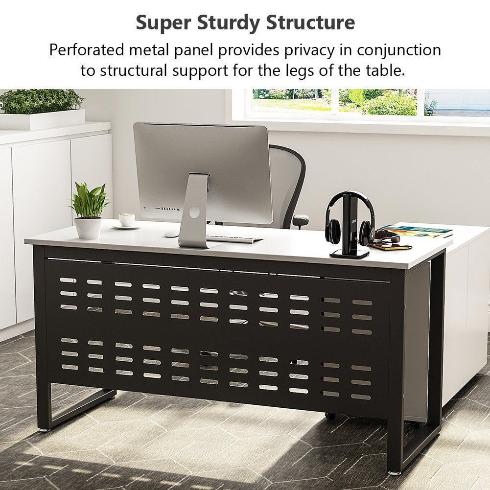 Tribesigns 55 inch Computer Desk,L-Shaped Desk with Cabinet Storage, Office Writing Desk with Bookcase &Printer Stand for Home Office by Tribesigns (Image #5)