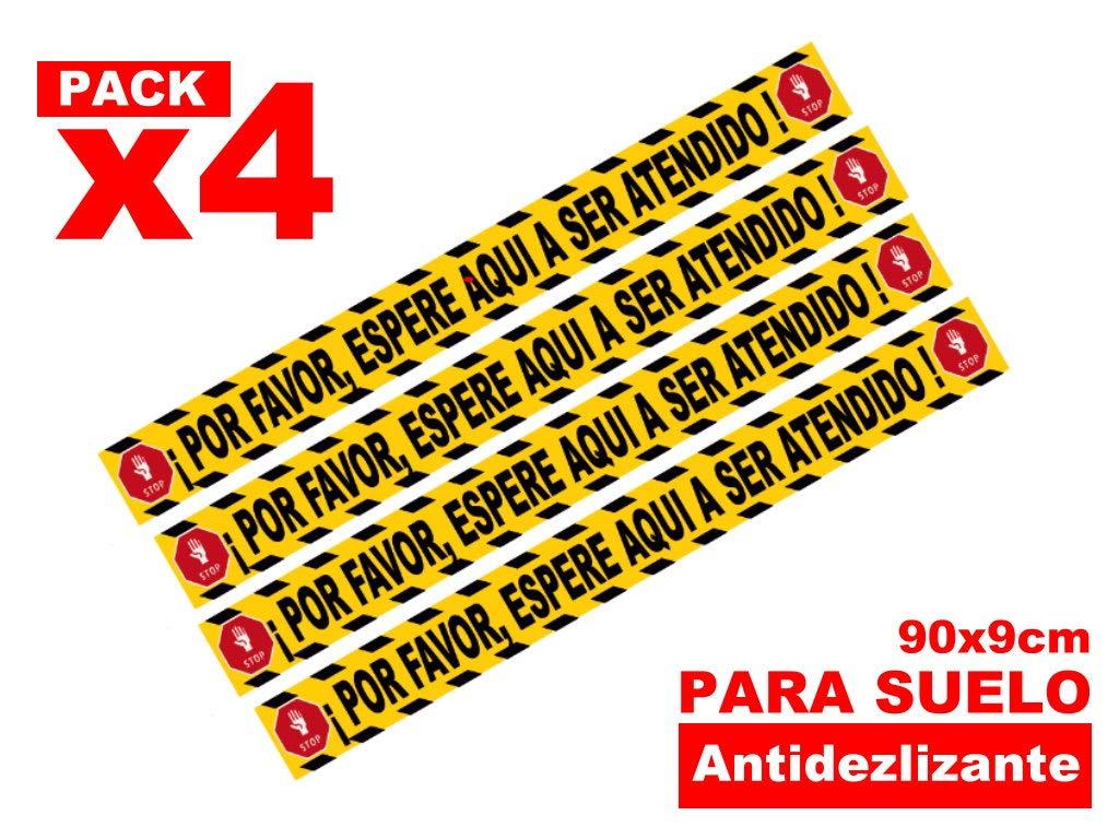 Pack 4 tiras espere su turno adhesivas suelo antideslizante distancia de seguridad 90x9cm
