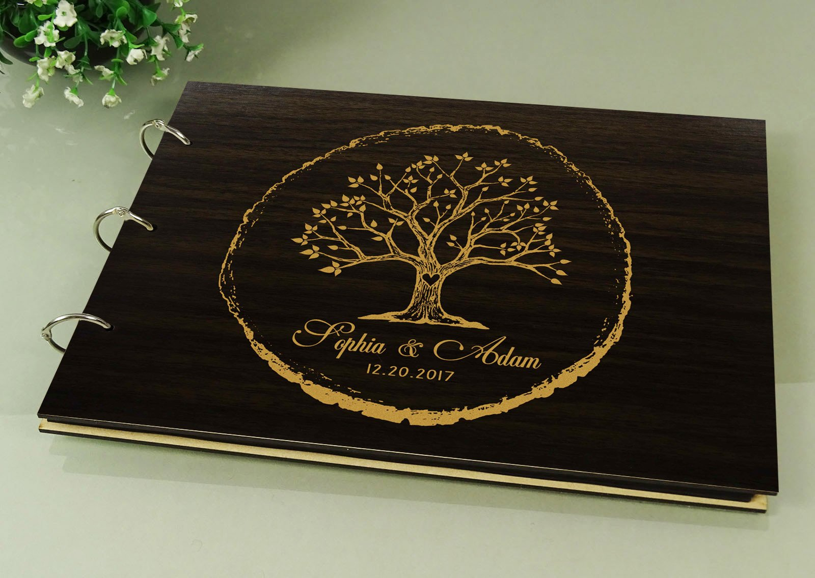 Handmade Tree Design Personalised Wooden Guest Book Rustic Wedding Wood Engraved Scrapbook by Darling Souvenir (Image #4)