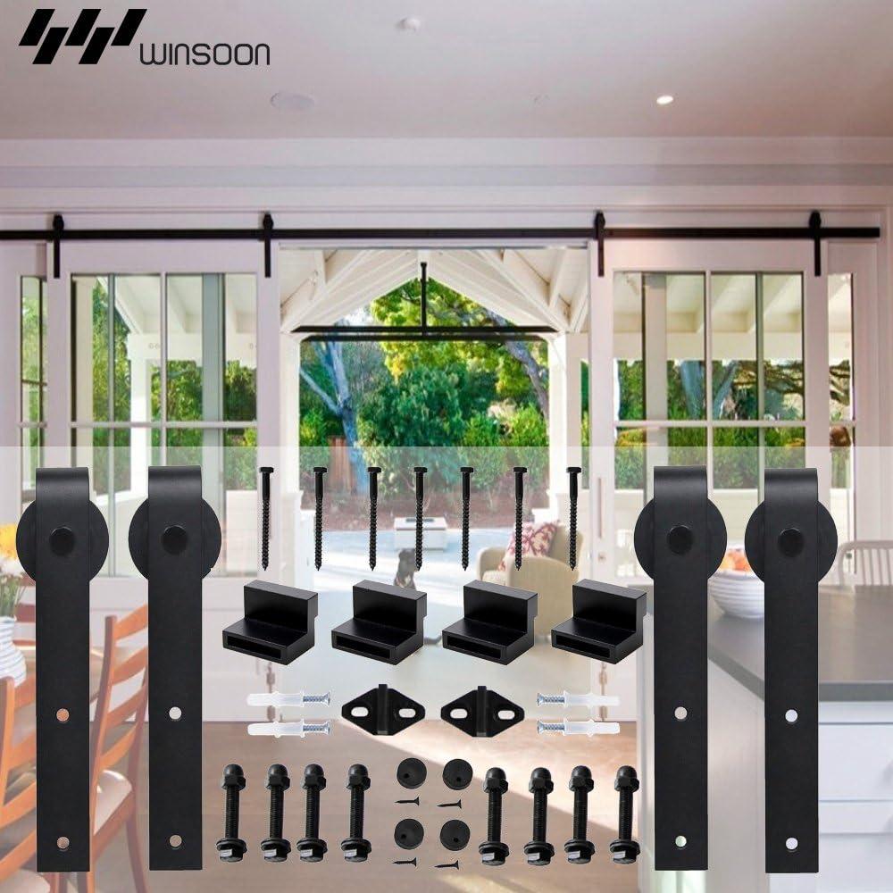 "WINSOON 5-18FT Sliding Barn Wood Door Hardware Cabinet Closet Kit Antique Style for Double Doors Black Surface (12FT /144"" 2 Doors Track Kit)"