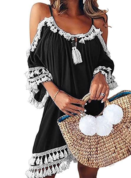 72ba7b65ab Azokoe Womens 2019 Summer Spaghetti Strap Cold Shoulder Chiffon Bathing  Suit Swimwear Beach Cover Up Black