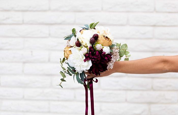 Amazon Silk Flower Bouquet Bridal Autumn Fall Wedding Burgundy