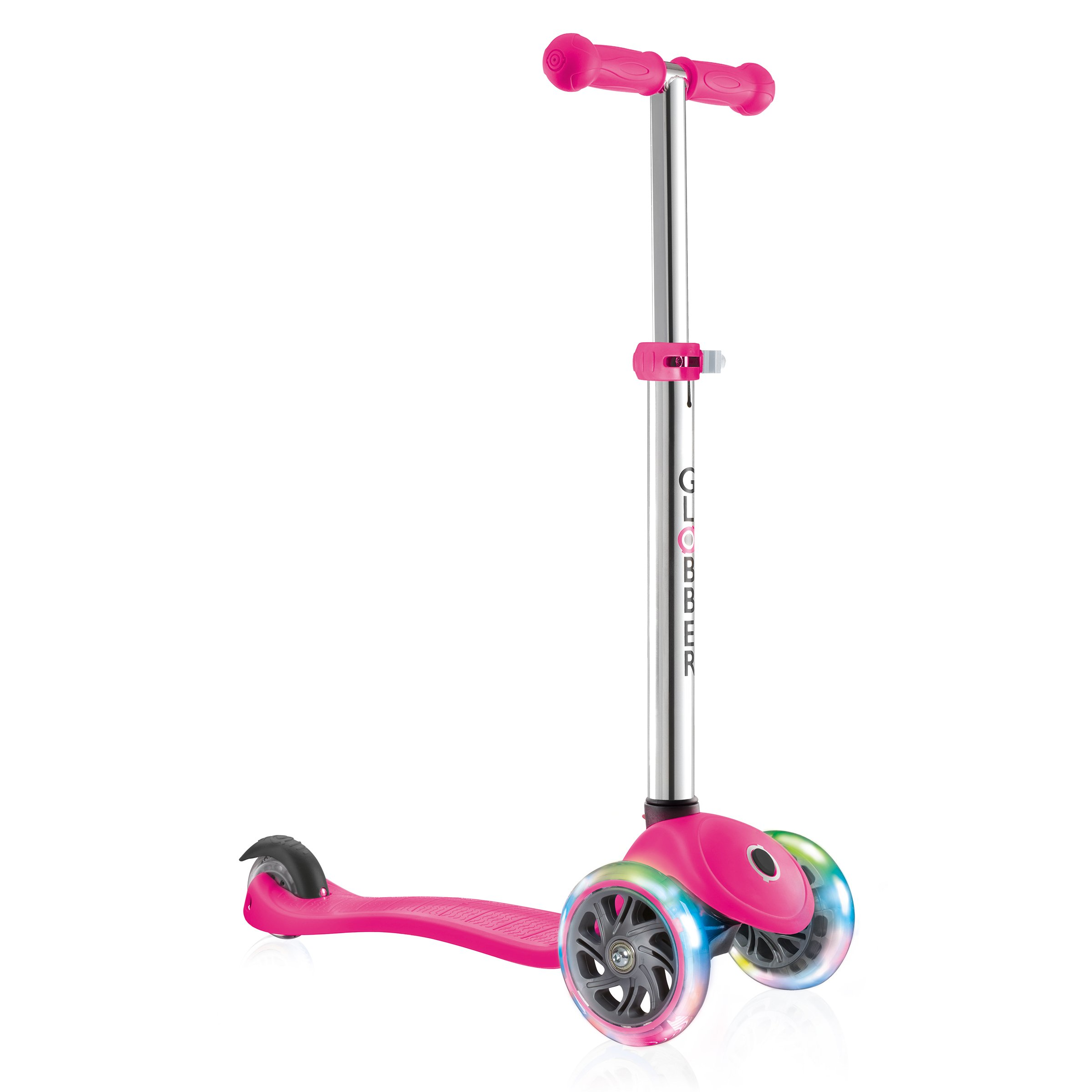 Globber 3 Wheel Adjustable Height Scooter with LED Light Up Wheels (Pink/Chrome)