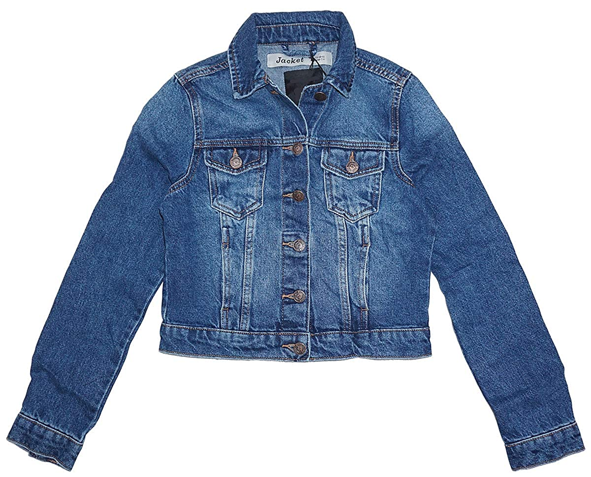 Girls Dark Blue Wash Western Style Denim Jacket Coat Teens Sizes from 9 to 15 Years