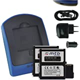 2x Batterie + Chargeur (USB/Auto/Secteur) pour AEE Magicam S51, S60, S70... / Veho MUVI K2 / Nilox F-60 Evo (4K) / KitVision Edge HD30W [3.7V - 1450mAh - Infochip]