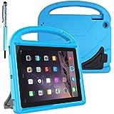 保護子供ケース for 9.7 inch Apple iPad 2 3 4 Tablet、FineGoodスタイラスボールペン付き携帯用ハンドル&スタンド付きコンバーチブル軽量ショックプルーフEVAカバーケース - ブルー