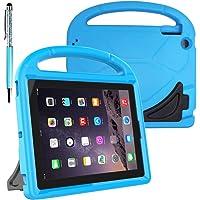 Funda Protectora para Niños para 9.7 pulgadas, Tableta para iPad 2 3 4 de Apple, FineGood Funda Ligera Convertible, Resistente al choque, funda EVA con asa y soporte, con estilete Ball Point Pen - Azul
