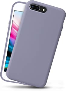 OCOMMO iPhone 8 Plus Silicone Case, iPhone 7 Plus Silicone Case, Full Body Drop Protective Gel Case with Soft Lining, Wireless Charge Pad Compatible, Lavender