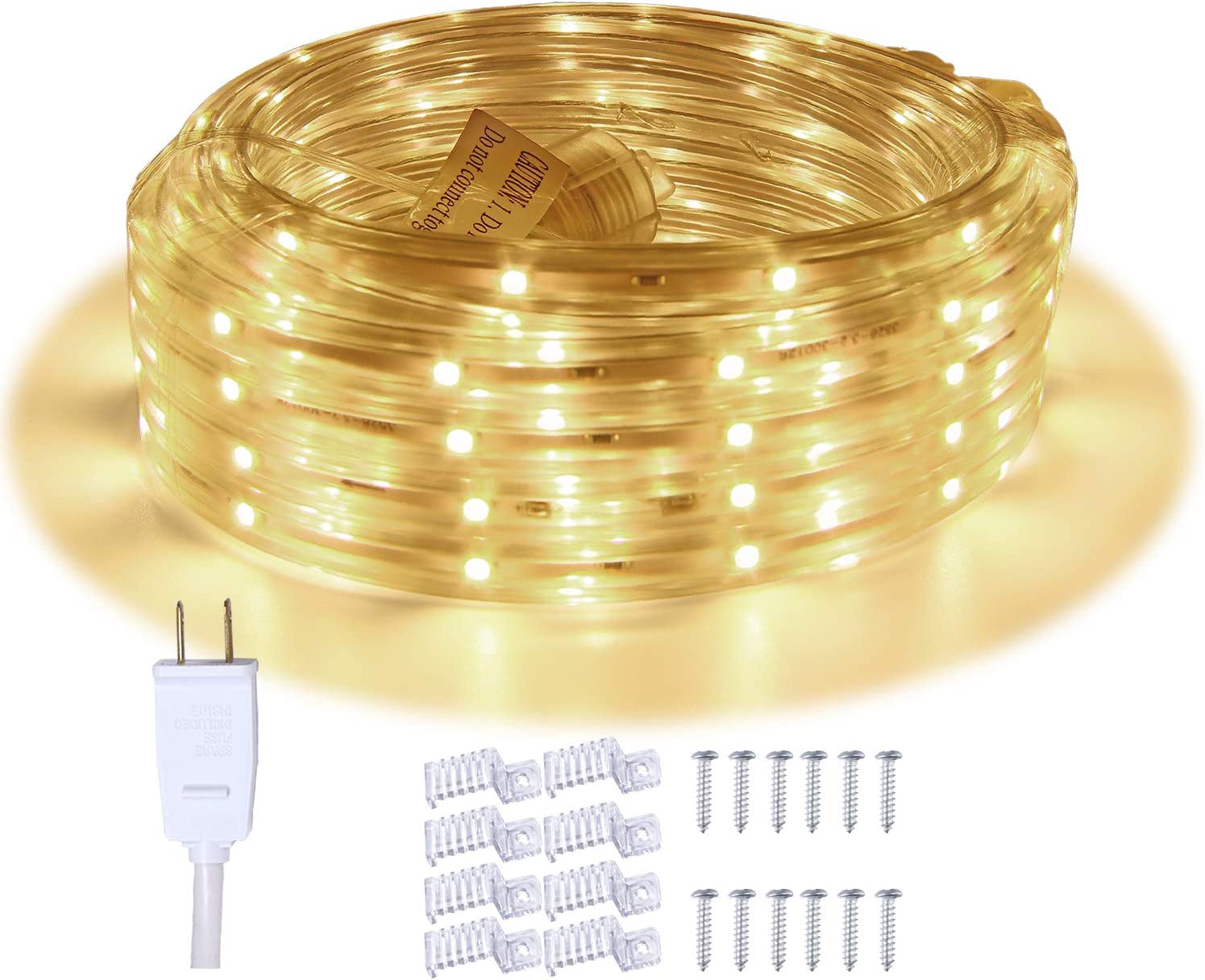 LED Rope Lights, 16.4ft Waterproof Connectable Strip Lighting, 3000K Warm White, Indoor Outdoor Mood Lighting for Home Christmas Holiday Garden Patio Party Decoration