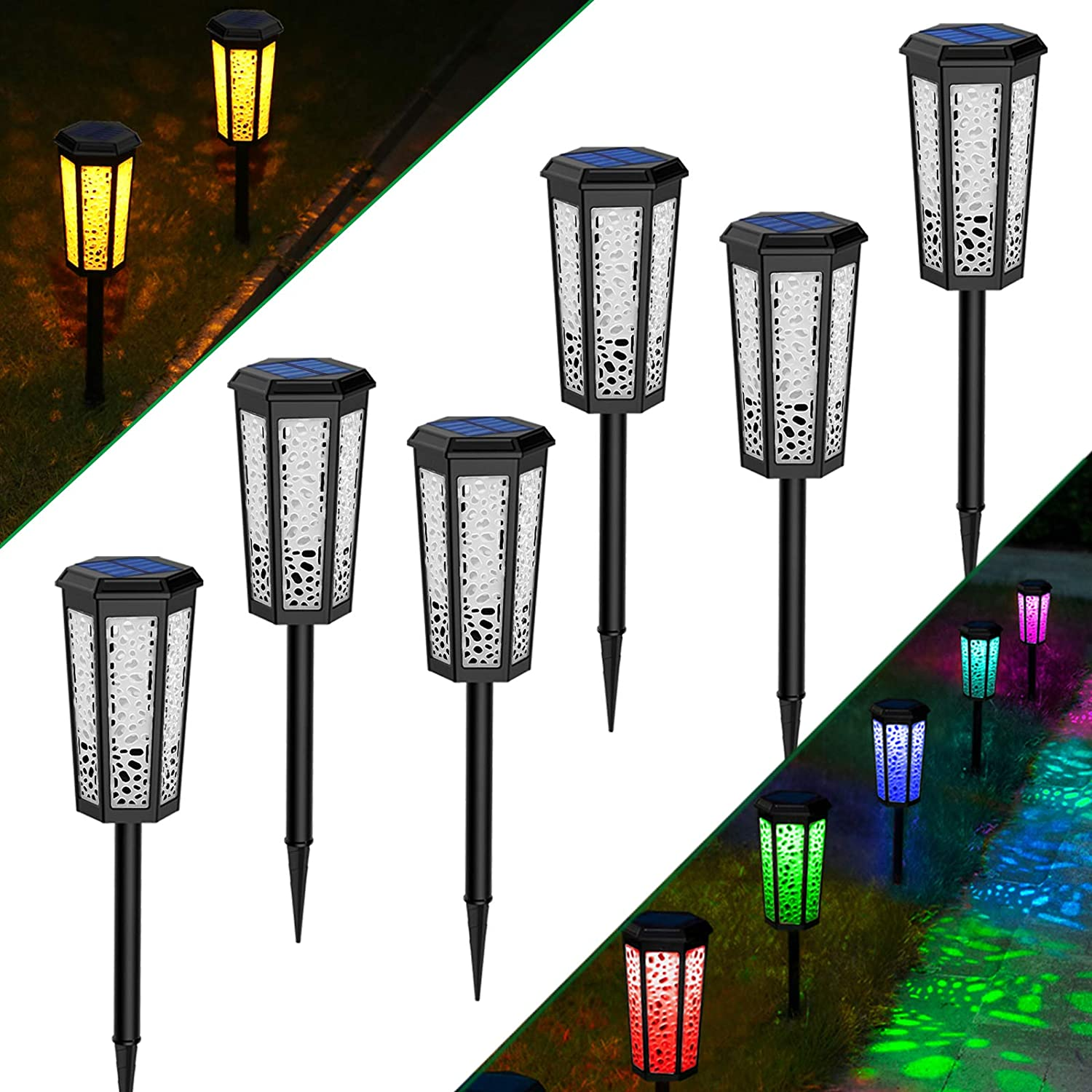 Solar Powered Pathway Lights,2 Modes [Amber White & RBG Changing] Waterproof Solar Landscape Light Outdoor Garden Decorative Led Lighting for Path, Yard, Patio, Driveway, Walkway Lawn Decor 6 Pack