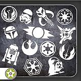 Sticker Bomb Set 07 - Bogengröße A4: Darth Vader, Imperium, Rebellenallianz, R2D2, Boba Fett, Alte Sith...Verschiedene Farben