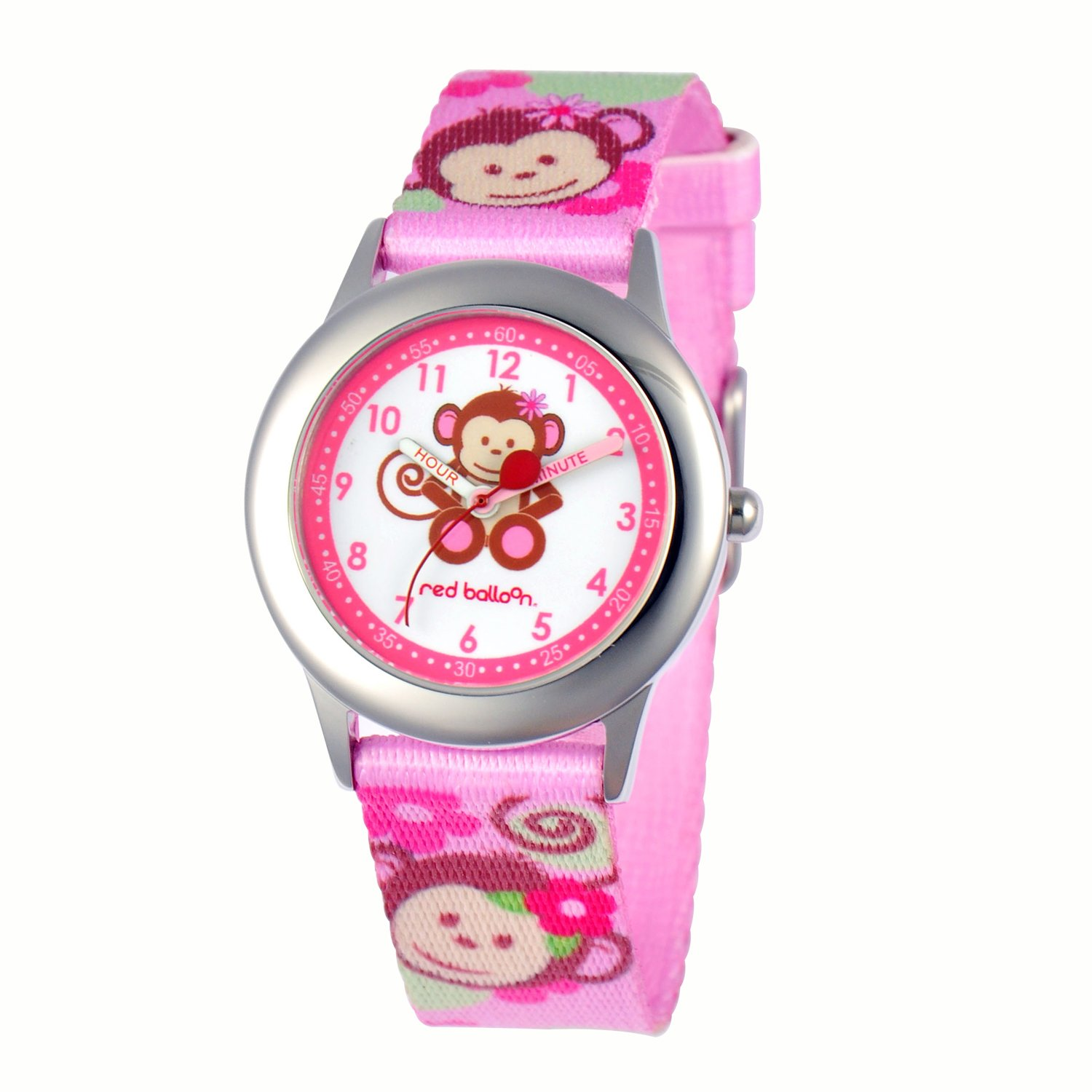 Red Balloon Kids' W000336''Pretty Girl Monkey Time Teacher'' Stainless Steel Watch with Pink Nylon Band