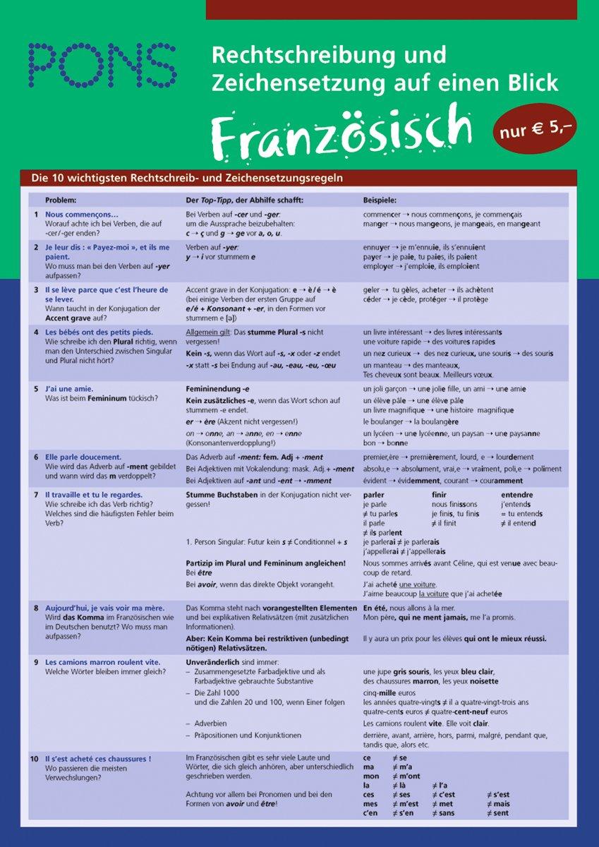 PONS Rechtschreibung und Zeichensetzung auf einen Blick Französisch: kompakte Übersicht: Schreiben lernen (PONS Auf einen Blick)