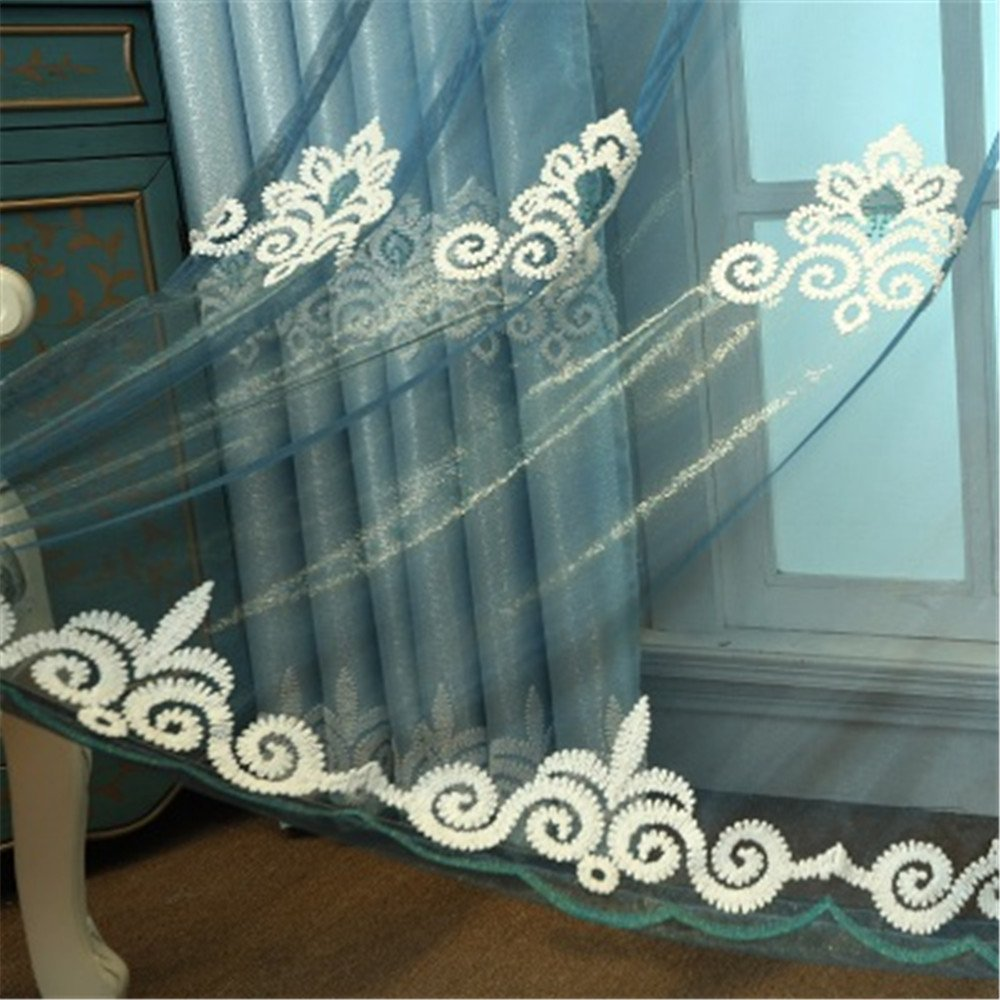 Jameswish Embroidery Window Curtain Tulle Luxury Romantic Hooked Window Decoration NO Panel For Living Room Bedroom Restaurant