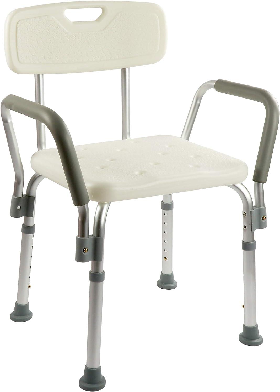 OrtoPrime Silla Ducha con Respaldo Extraible - Taburete Baño Ortopédico Adultos y Niños - Reposabrazos Acolchados - Regulable 8 Alturas - Asiento de Aseo Cómodo y Seguro