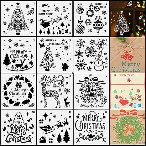 Cdwerd 12 Stucke Weihnachten Malerei Schablonen Plastik Vorlagen