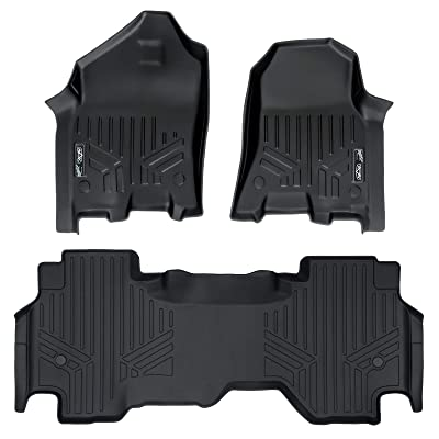 MAXLINER Floor Mats 2 Row Liner Set Black for 2020 Ram 1500 Quad Cab with 1st Row Captain Seat or Bench Seats: Automotive
