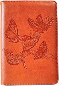 Butterflies Writing Journal by SohoSpark, Refillable Faux Leather, Lined Personal Diary for Travel, 6x8.75 Notebook for Writers. Fountain Pen Safe with Lay-Flat Binding.