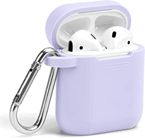 Airpods Case, GMYLE Silicone Protective Shockproof Wireless Charging Airpods Earbuds Case Cover Skin with Keychain kit Set Compatible for Apple AirPods 2 & 1 – Lavender Purple