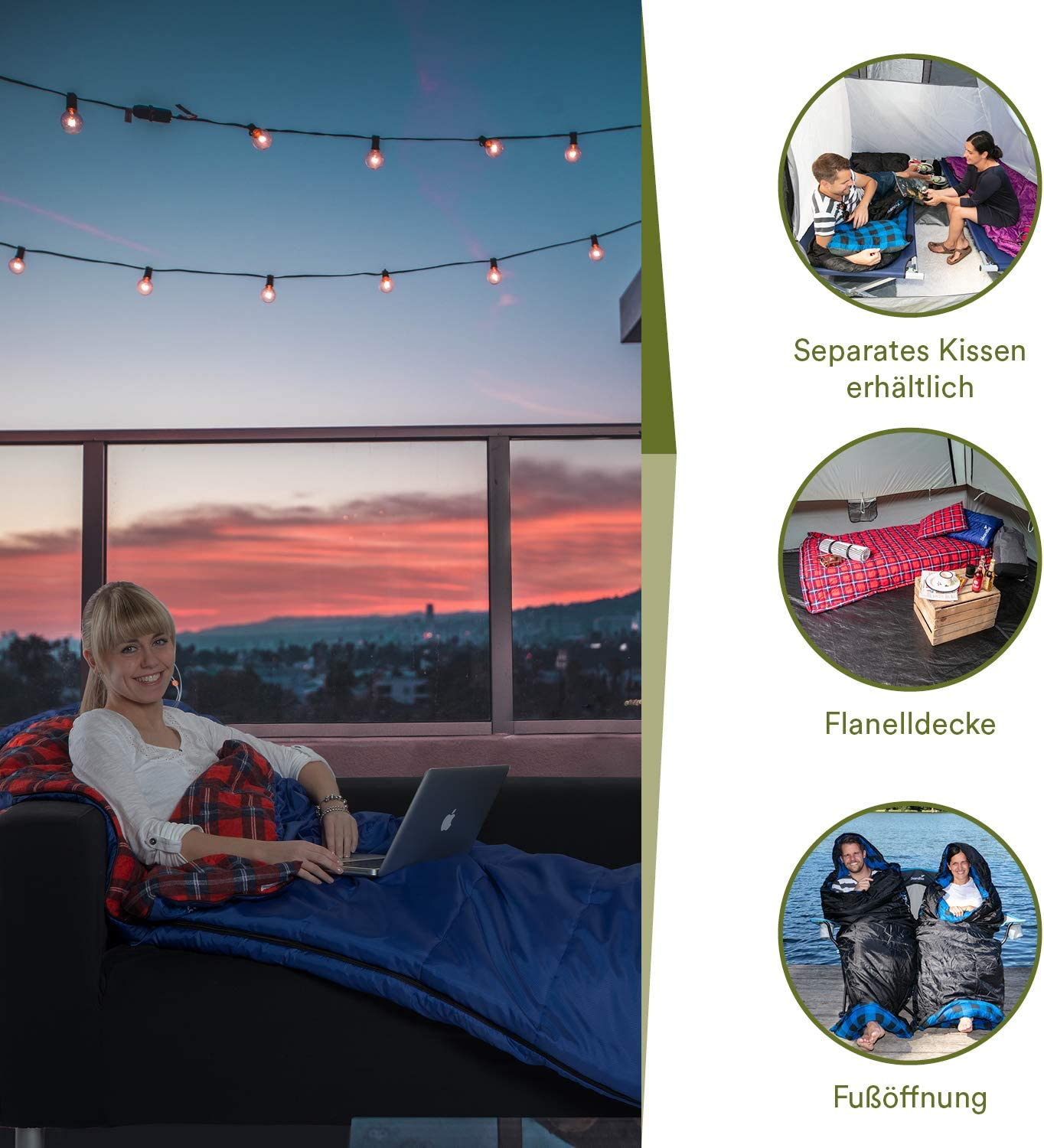 Suitable for Outdoors Camping Backpacking Travel Hiking 20/°C Skandika Dundee Rectangular Sleeping Bag Quality Extreme Temperature upto