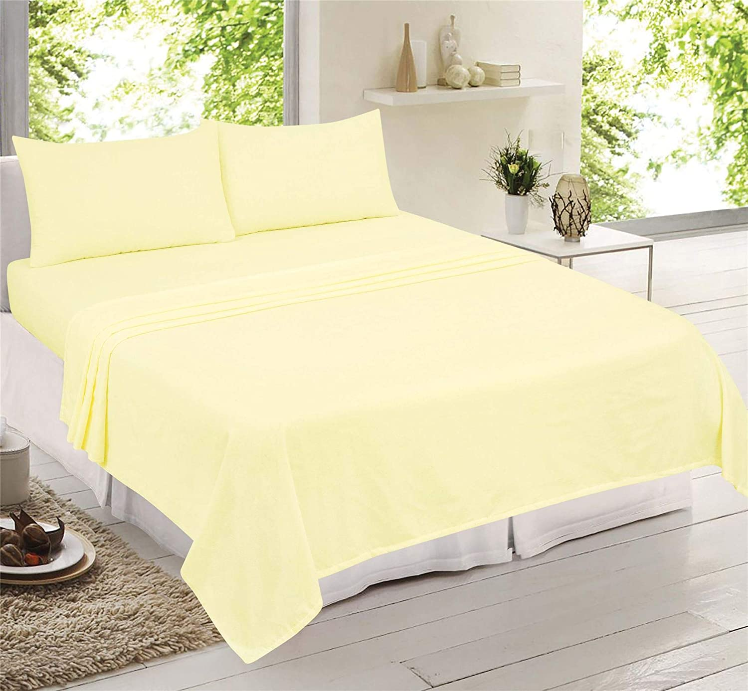 Adore Home White Brushed Cotton Warm Flannelette Bedding Sheet Set Fitted Sheet, Flat Sheet, 2 x Pillowcases, Double