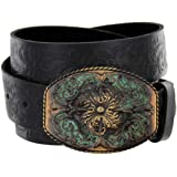 "Women's Western Tooled Full Grain Leather Jean Belt Black Brown 1.5"" (38mm) Wide"
