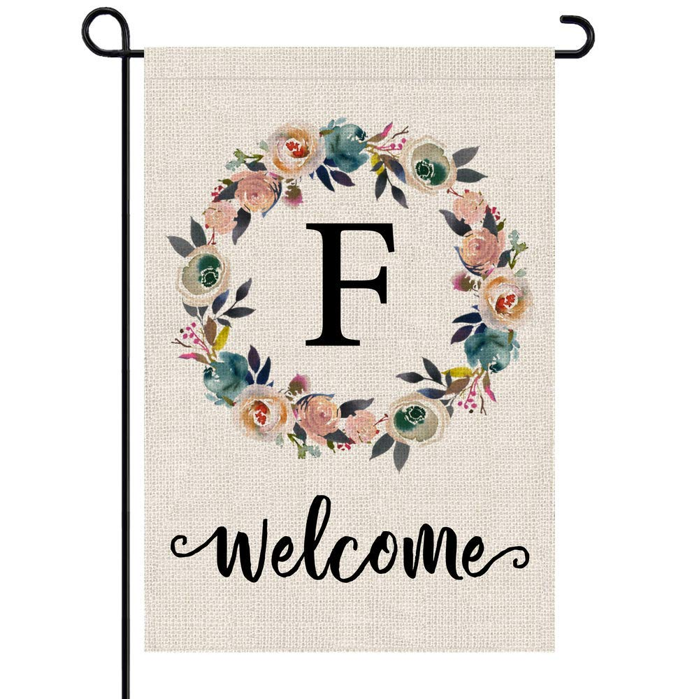 PARTY BUZZ Monogram F Garden Flag, Initial Letter Yard Patio Lawn Flag (12 x 18, Double Sided)
