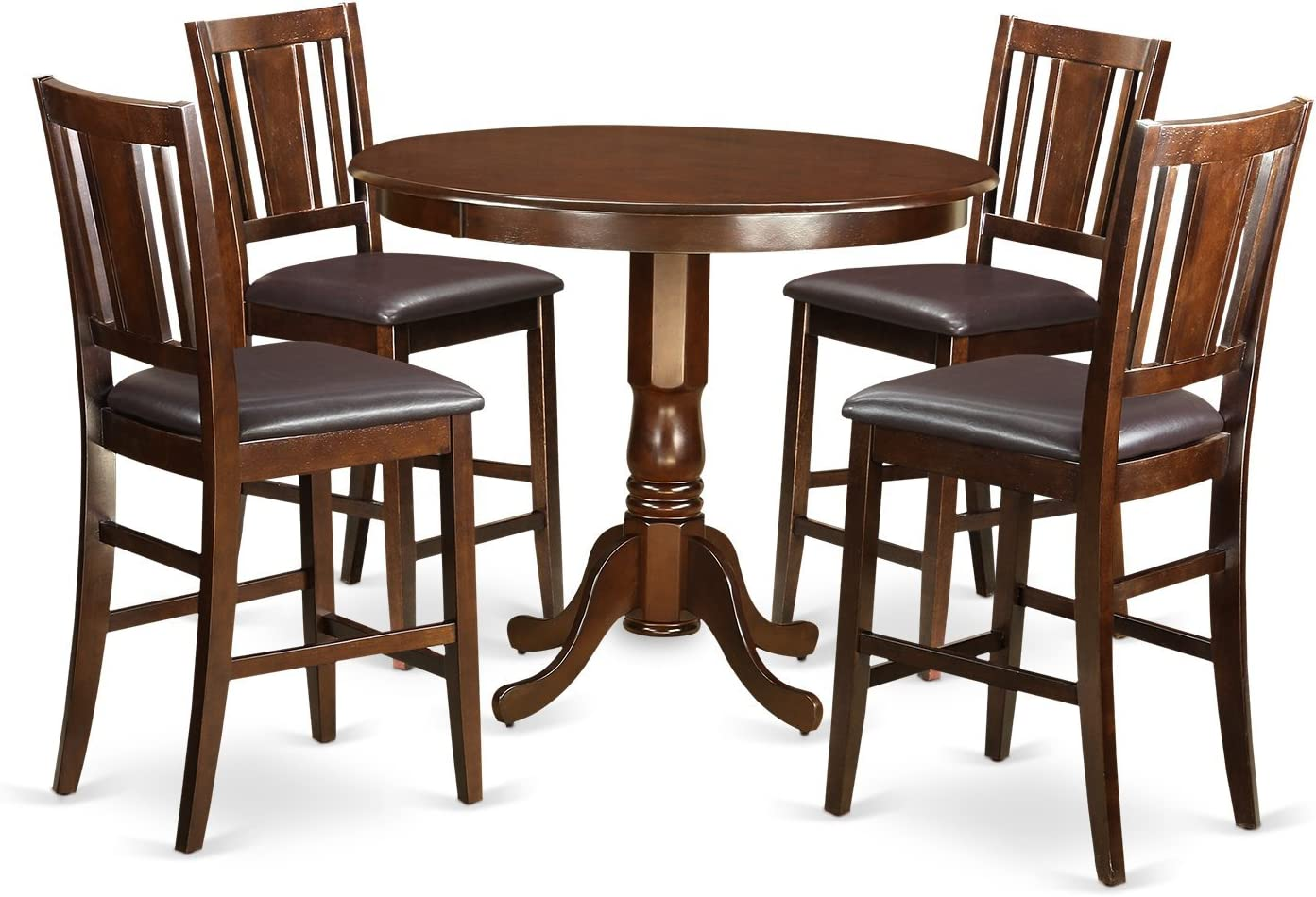 TRBU5-MAH-LC 5 PC counter height Table and chair set – high Table and 4 Dining Chairs.
