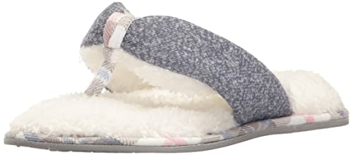 4786e433f68daa Dearfoams Women s Casual Knit Thong Slipper - Padded Terrycloth Slipper  with Rubber Sole and Memory Foam