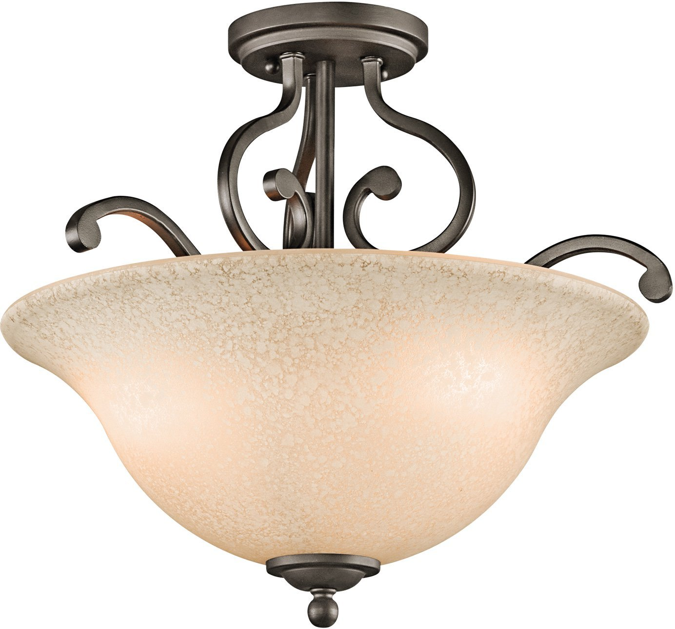 Kichler 43232OZ Camerena Semi-Flush 3-Light, Olde Bronze