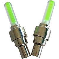 4pcs Car led Tyre light auto Wheel light Tire Valve Caps Covers Neon LED Sensor Lights Lamps Green Long