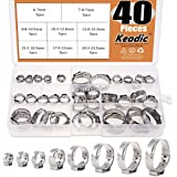 """Keadic 40Pcs 1/4""""-15/16"""" Stainless Steel Single Ear Hose Clamps Clips Pex Pinch Clamp Assortment Kit for Various Hoses Plastic Tubes"""