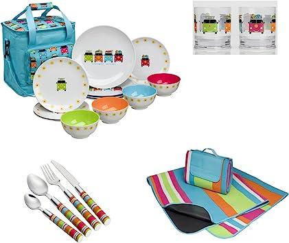 Manta de pícnic, bolsa nevera, melamina, cubiertos y vasos ...