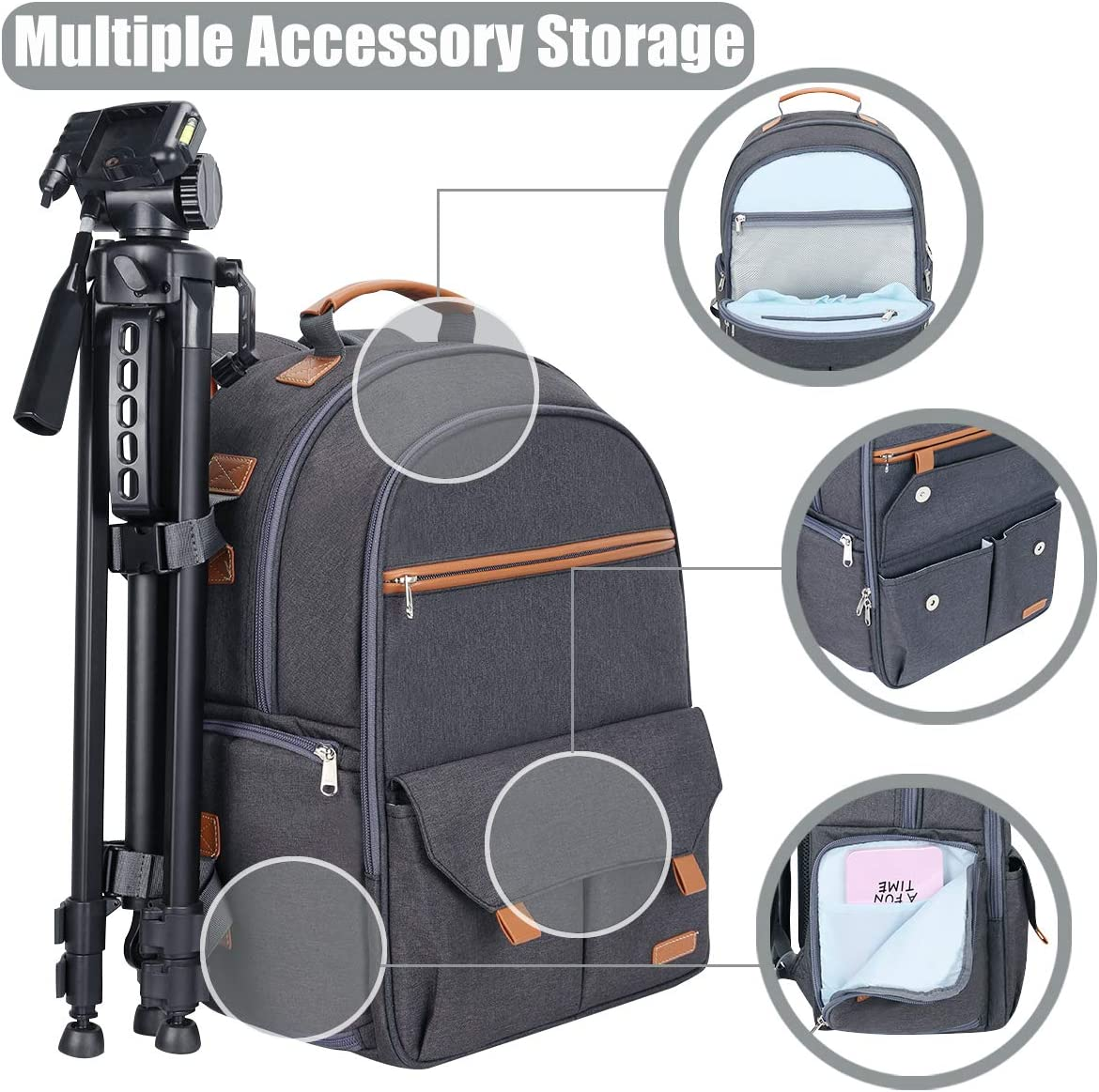 Cool Gray Endurax Waterproof Camera Backpack for Women and Men Fits 15.6 Laptop with Build-in DSLR Shoulder Photographer Bag
