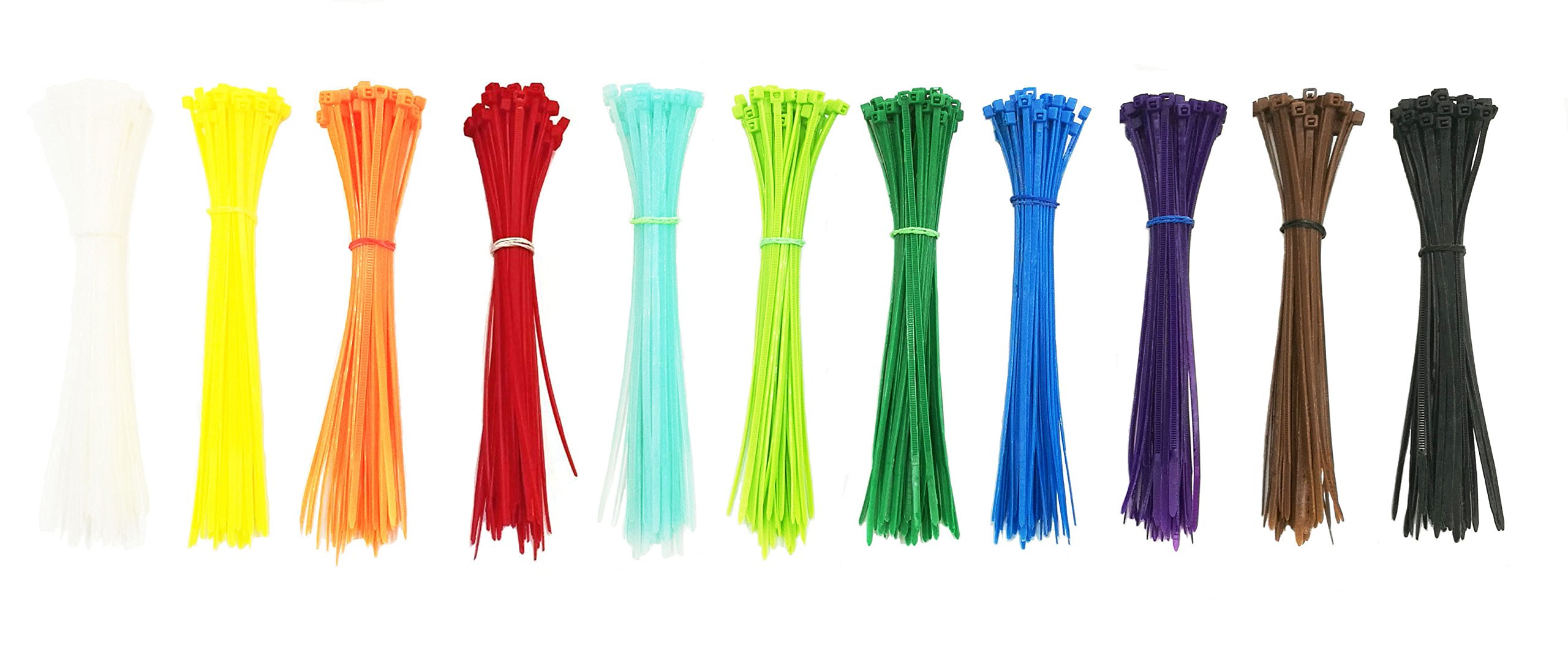 SummerHome Self Locking Nylon Cable Zip Ties in 11 Colors(Blue, Red, Green, Yellow, Fuschia, Orange, Gray, Purple)- 6'' - 550pcs