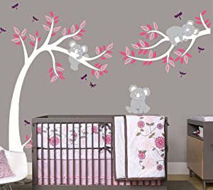 LHKSER Nursery Koala Tree Wall Stickers/ARGE Tree Cartoon Animals Koala Wall Decals/Children's Room Nursery Removable Vinyl Decals Mural Art Decoration (White Pink)