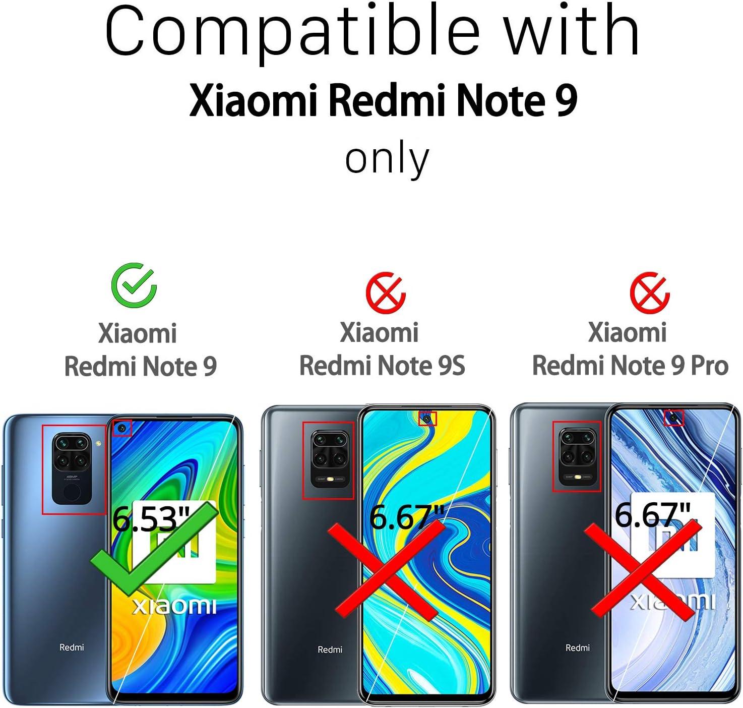 4 Pack Paquete de 2 Pack para Xiaomi Redmi Note 9 Cristal Templado (Transparente) Ferilinso Cristal Templado para Xiaomi Redmi Note 9 con Paquete de 2 Pack Protector de Lente de c/ámara