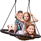 """Sorbus Spinner Swing – Kids Indoor/Outdoor Round Web Swing – Great for Tree, Swing Set, Backyard, Playground, Playroom – Accessories Included (40"""" Net Seat)"""