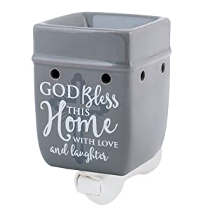 Elanze Designs God Bless This Home with Love Grey Stoneware Electric Plug-in Wax Tart Oil Warmer