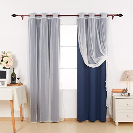 Deconovo Mix And Match Curtain Set Thermal Insultaed Blackout Curtian 2 Pieces With Mesh Lace