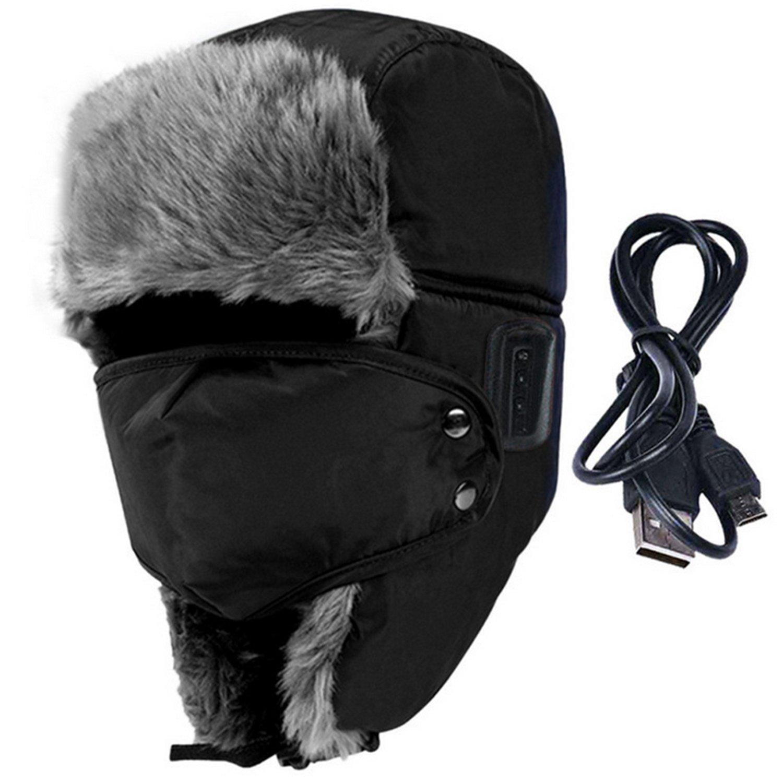 d77c8afcacb Amazon.com  WAWEN Bluetooth Wireless Hat Winter Warmer Trooper Trapper  Hunting Ski Outdoor Sports Smart Cap Handsfree Speaker Black  Sports    Outdoors
