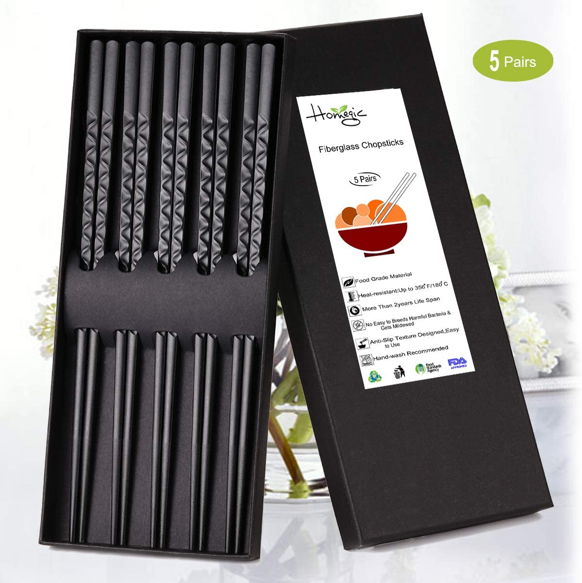 Chopsticks Reusable 5-Pairs Chop Sticks Anti-Slip Textured Tip Reusable Chopsticks Dishwasher Safe Fiberglass Chopsticks Set with Box for Household Restaurant- Black 9-1/2 Inch (Meandering)