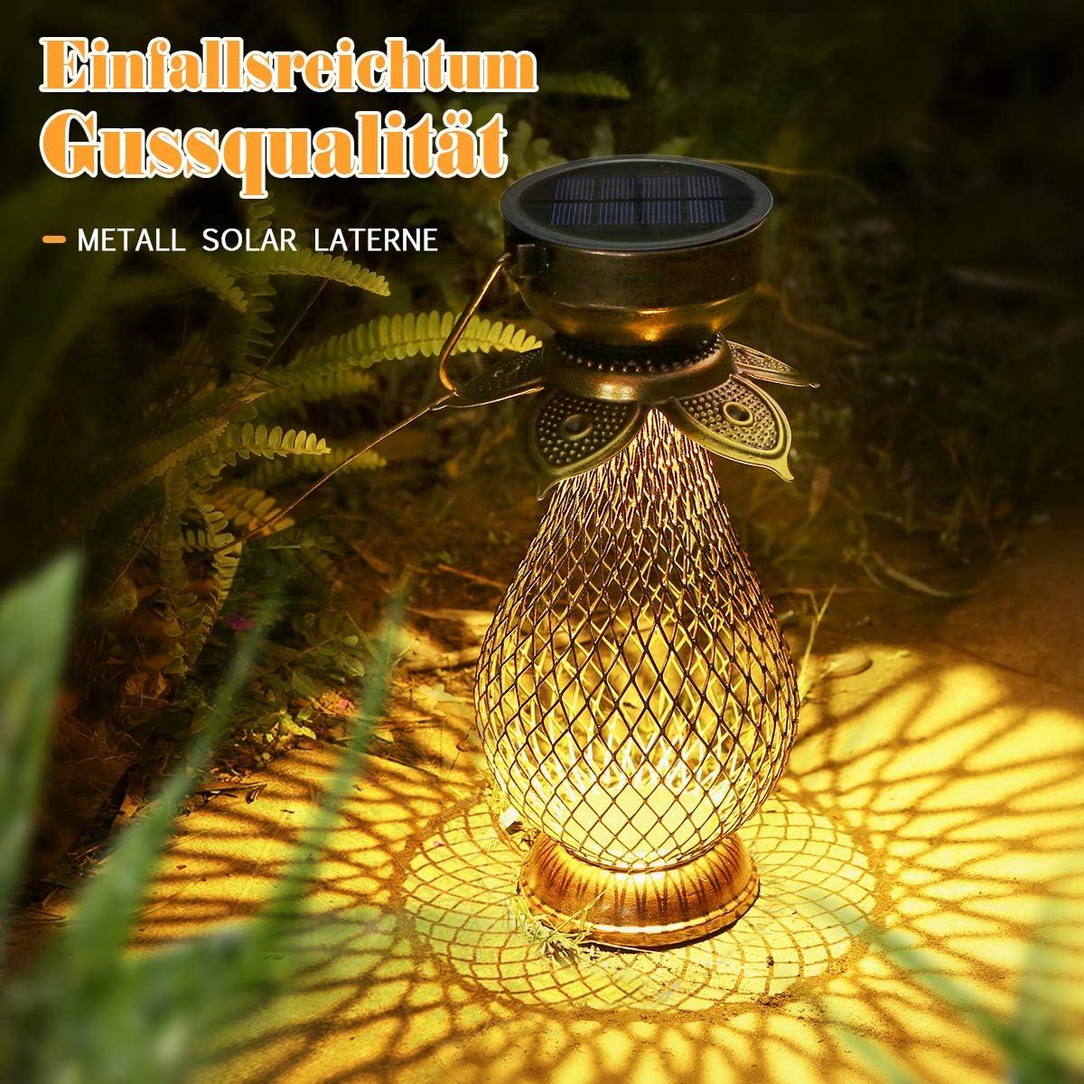 Metall Görvitor LED Retro Handgemachtl Solarleuchte Garten Solarlaterne H/ängende mit IP44 Wasserdicht Solar Tischleuchte als Deko Solar Laterne f/ür Au/ßen