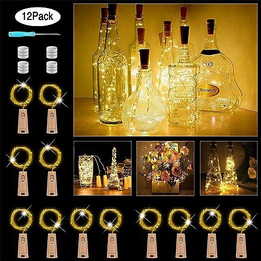 12 pack Cadena Led Luces para Botellas de Vino 2M 20 luces LED para botellas LED