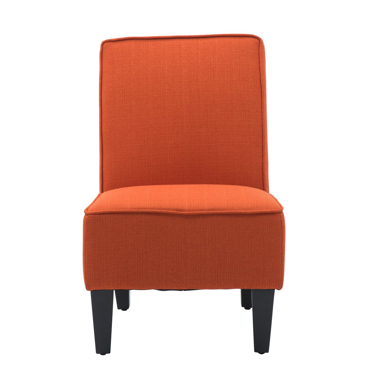 YongQiang Living Room Sofa Cushioned Upholstered Linen Armless Settee Modern Solid Casual Home Recliner Chair With Wood Legs Orange